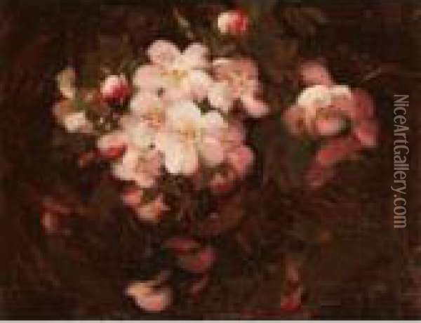 Still Life With Pink Wild Roses Oil Painting - James Stuart Park