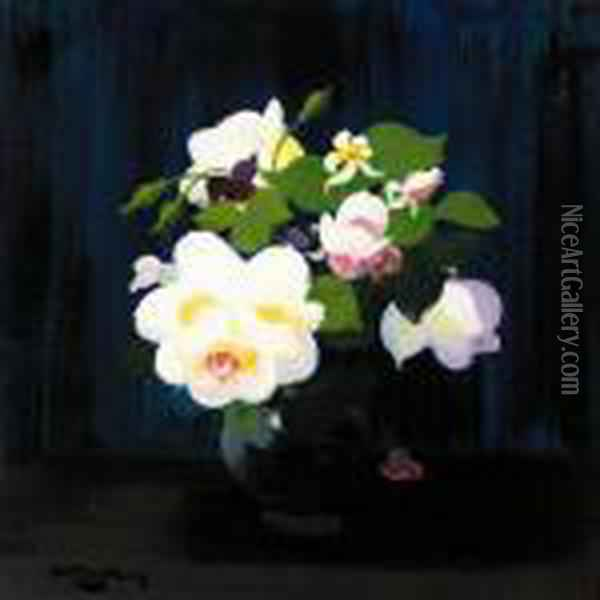 Red And White Roses; Pink And White Roses Oil Painting - James Stuart Park
