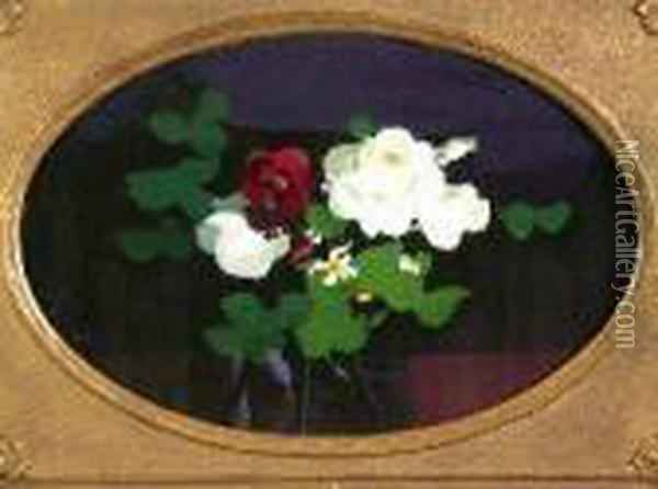 A Still Life Of Red And Yellow Roses Oil Painting - James Stuart Park
