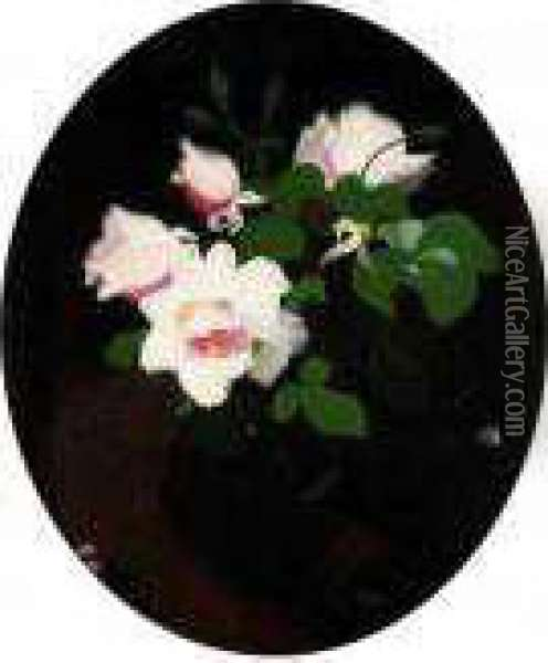Still Life Of Pink Roses Oil Painting - James Stuart Park