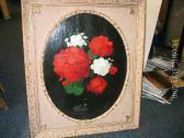 White And Red Geraniums Oil Painting - James Stuart Park