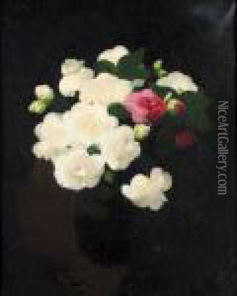 Still Life With White And Red Roses Oil Painting - James Stuart Park