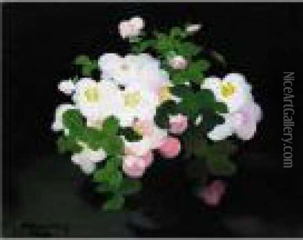 Still Life With Wild Roses Oil Painting - James Stuart Park