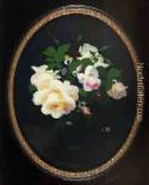 A Still Life Of Yellow And Pink Roses Oil Painting - James Stuart Park