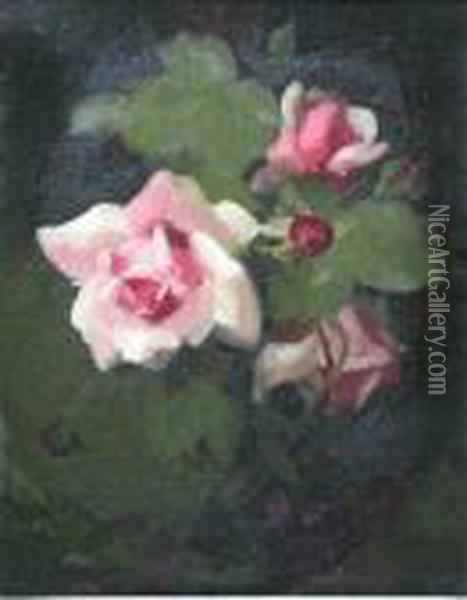A Still Life Of Pink Roses Oil Painting - James Stuart Park