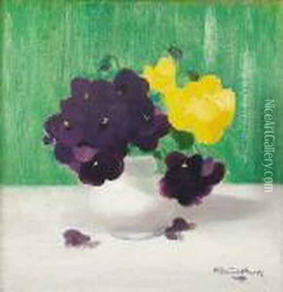 Still Life Of Purple And Yellow Pansies Oil Painting - James Stuart Park