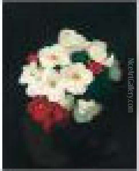 Red And White Christmas Roses Oil Painting - James Stuart Park