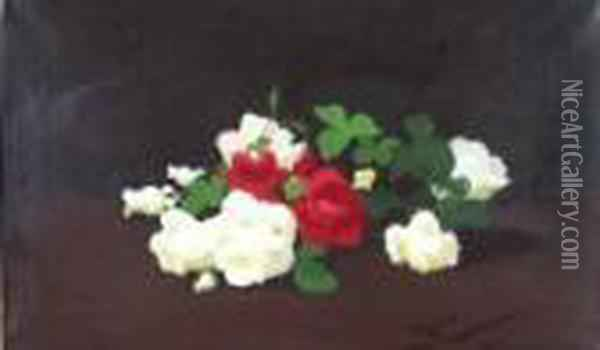 Still Life Of Red And White Roses Oil Painting - James Stuart Park