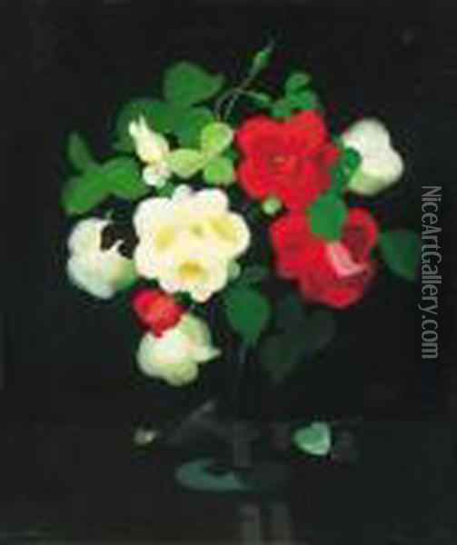 Still Life With Red And White Roses Oil Painting - James Stuart Park