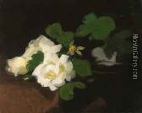 Sill Life With White Roses Oil Painting - James Stuart Park