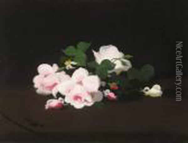 Pink And White Roses Oil Painting - James Stuart Park