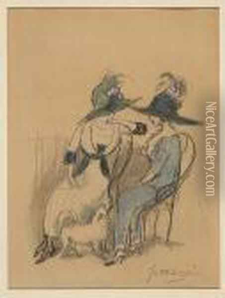 La Conversation Oil Painting - Jules Pascin