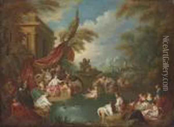 An Extensive Landscape With Women Bathing In A Wooded Enclosure Byruins Oil Painting - Jean-Baptiste Joseph Pater