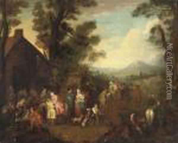 Soldiers, Women And Children Before A Barn, A Mountainous Landscapebeyond Oil Painting - Jean-Baptiste Joseph Pater
