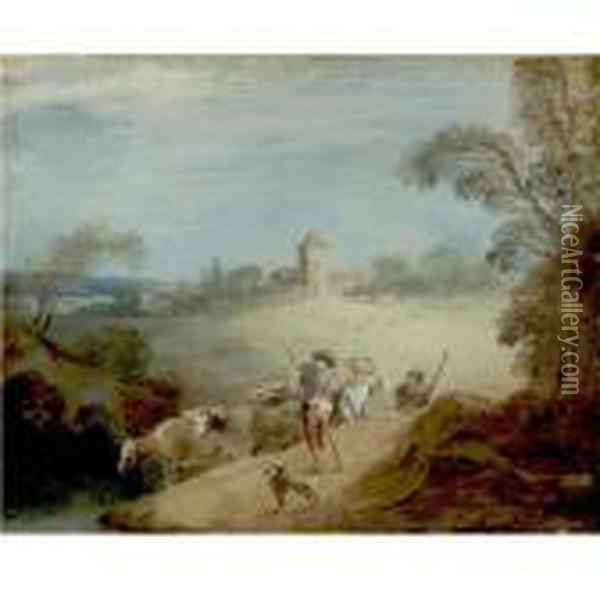 A Pastoral Landscape With A Shepherd And Sheperdess Oil Painting - Jean-Baptiste Joseph Pater