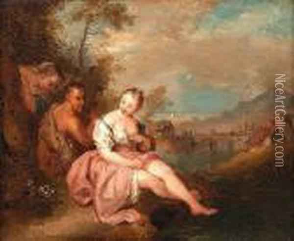 Two Nymphs With A Satyr In A River Landscape, A View To A Village Beyond Oil Painting - Jean-Baptiste Joseph Pater