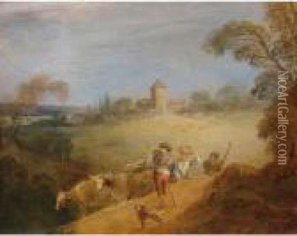 A Pastoral Landscape With A Shepherd And Shepherdess Oil Painting - Jean-Baptiste Joseph Pater