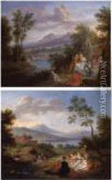 Elegant Figures Resting In An Extensive Landscape: A Pair Of Paintings Oil Painting - Jean-Baptiste Joseph Pater