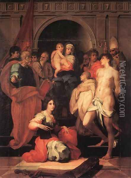 Madonna Enthroned and Ten Saints 1522 Oil Painting - Fiorentino Rosso