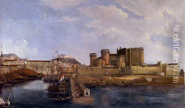 A View Of Castel Dell'ovo From The Bay Of Trentaremi, Naples Oil Painting - Gabriele Ricciardelli