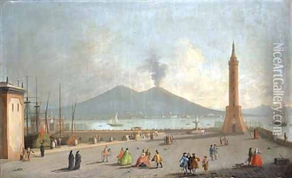 The Lanterna del Molo, Naples, with figures, the bay and Vesuvius beyond Oil Painting - Gabriele Ricciardelli