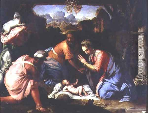 Adoration of the Shepherds, c.1525 Oil Painting - Francesco de' Rossi