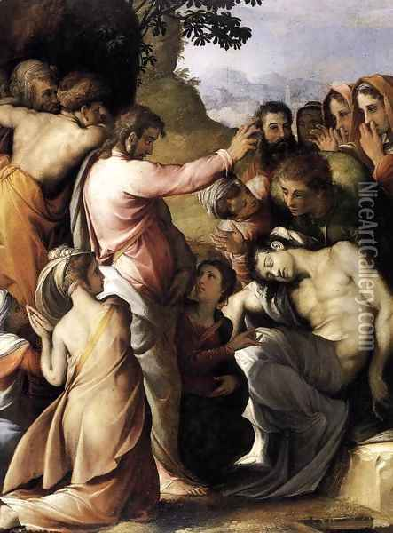 Raising of Lazarus 1540s Oil Painting - Francesco de' Rossi
