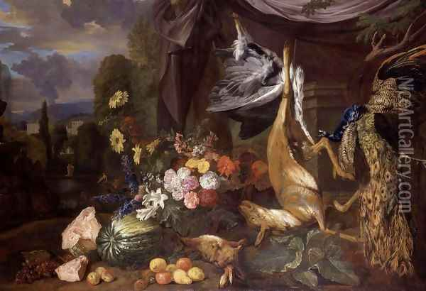 Still-Life with Flowers and Fowl 2 Oil Painting - Pieter Andreas Rysbrack