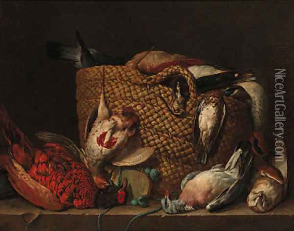 A pheasant, pigeon, owl, and a basket with a partridge, duck, lapwing and woodcock on a ledge Oil Painting - Pieter Andreas Rysbrack