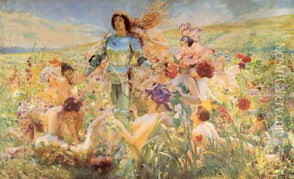 The Knight of the Flowers (or Parsifal) Oil Painting - Georges Antoine Rochegrosse