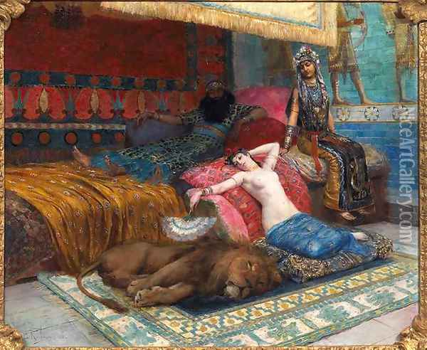 L'esclave et le lion (The slave and the lion) Oil Painting - Georges Antoine Rochegrosse