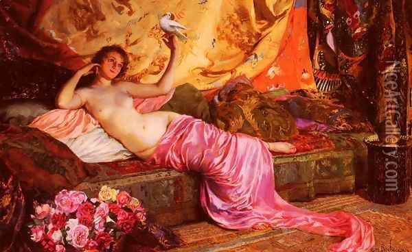 Nu Au Repos (Nude at Rest) Oil Painting - Georges Antoine Rochegrosse