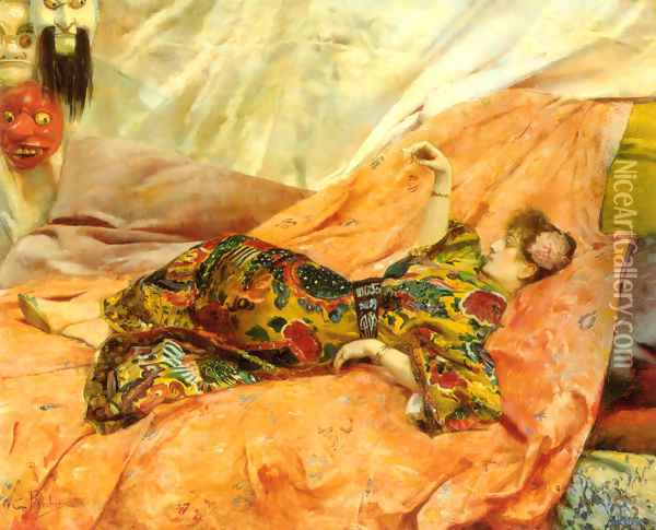 A Portrait of Sarah Bernhardt, reclining in a chinois interior Oil Painting - Georges Antoine Rochegrosse