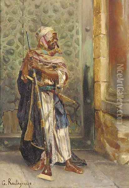 The arab guard Oil Painting - Georges Antoine Rochegrosse
