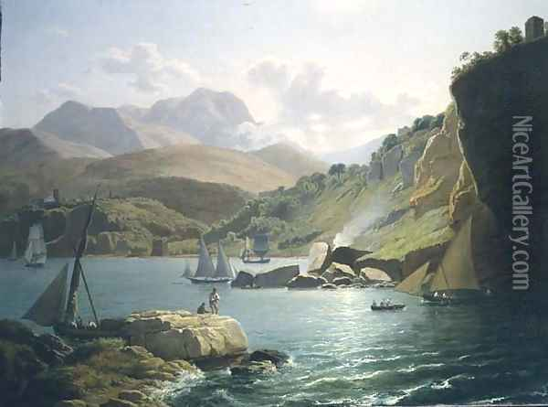 A View of the Shore of Vietri Sul Mare and the Village of Raito, in the Gulf of Salerno, 1799 Oil Painting - Ramsay Richard Reinagle