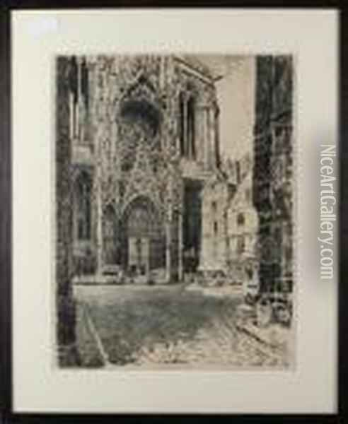 Rouen Cathedral Oil Painting - Joseph Pennell