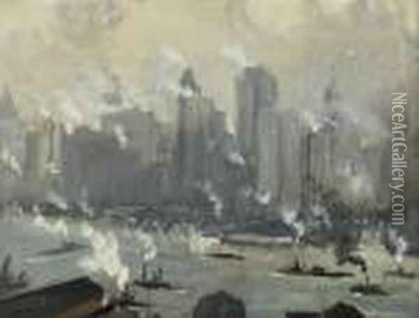 Grey Day Oil Painting - Joseph Pennell