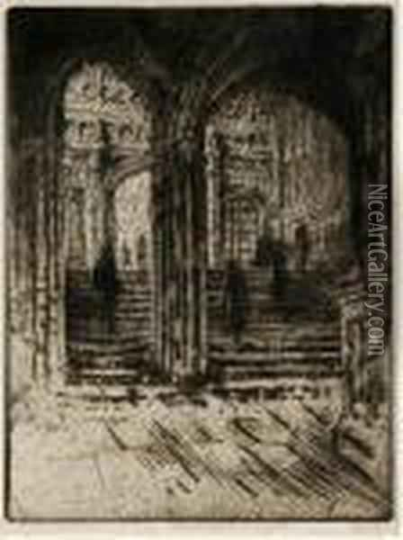 Entrance To Henry Vii's Chapel,westminster Oil Painting - Joseph Pennell