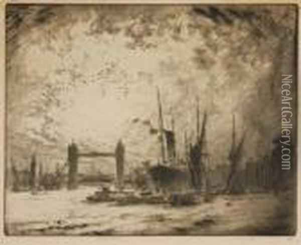 The Tower Bridge Oil Painting - Joseph Pennell