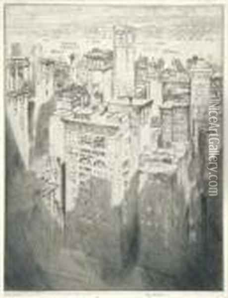 Among The Skyscrapers (w. 494) Oil Painting - Joseph Pennell