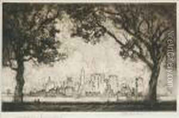 Palisades And Palaces Oil Painting - Joseph Pennell