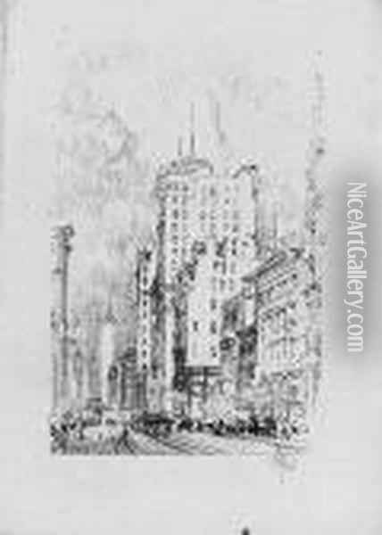 New York In Oil Painting - Joseph Pennell