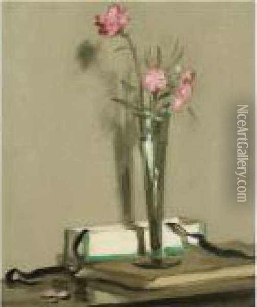 Still Life With Carnations Oil Painting - Samuel John Peploe