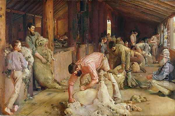 Shearing the Rams, 1890 Oil Painting - Thomas William Roberts