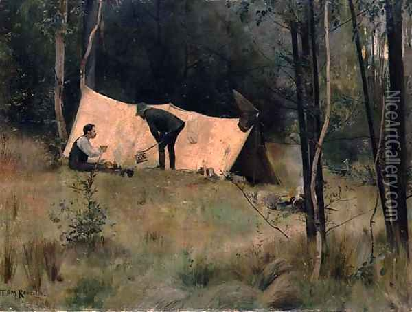 The Artists Camp, c.1886 Oil Painting - Thomas William Roberts