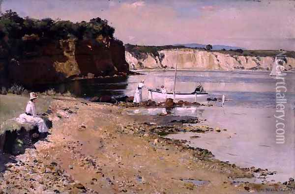 Slumbering Sea, Mentone, 1887 Oil Painting - Thomas William Roberts