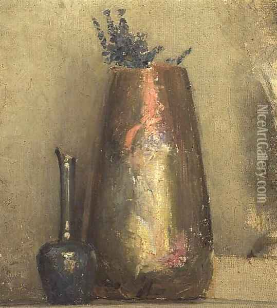 Still Life of Two Vases on a Shelf Oil Painting - Thomas William Roberts