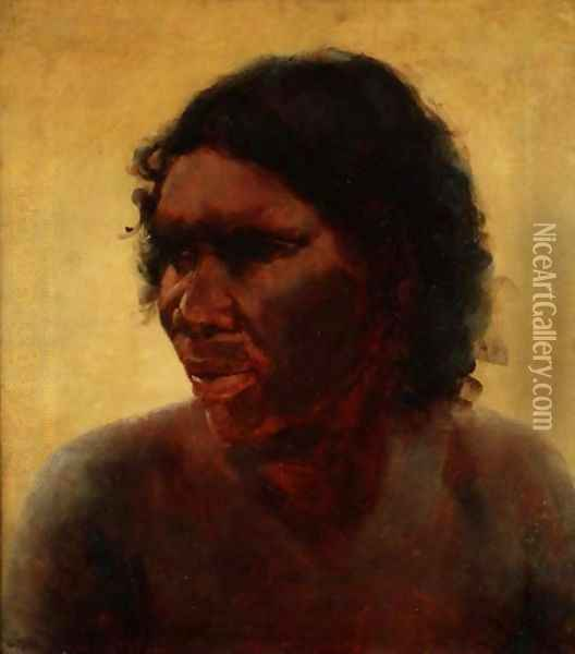 Portrait of an Aborigine, c.1895 Oil Painting - Thomas William Roberts