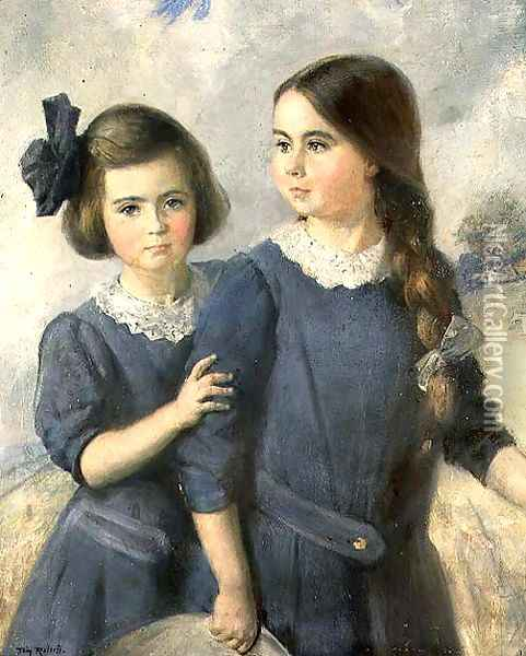 Portrait of Gwynneth and Norah Langton Thompson Oil Painting - Thomas William Roberts