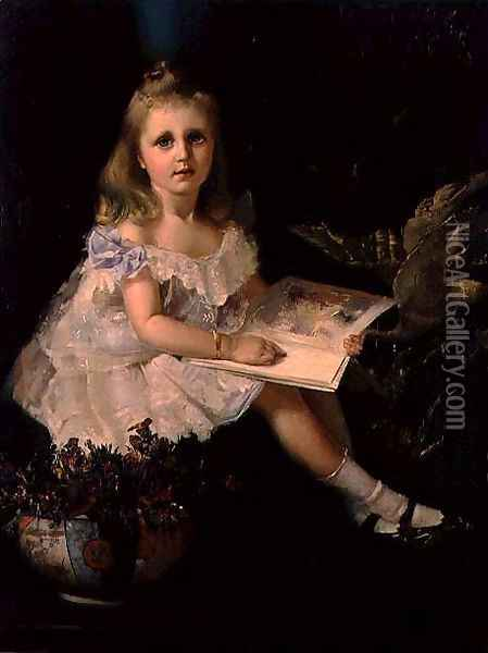 Louise, daughter of the Hon. L.L. Smith, c.1888 Oil Painting - Thomas William Roberts